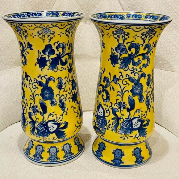Vintage Chinoiserie Blue & Yellow Vase-ONE